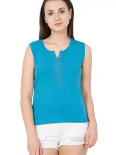 this image relates women Aqua Blue Cotton Top
