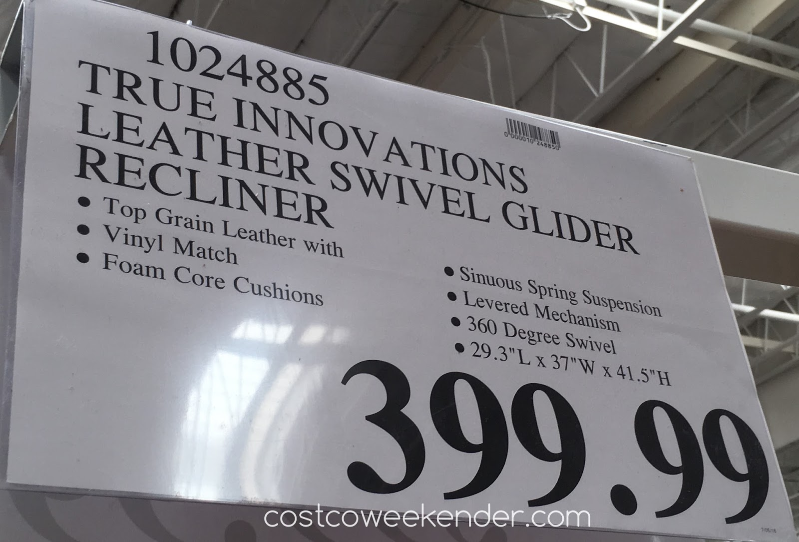 Deal for the True Innovations Leather Glider Recliner Chair at Costco