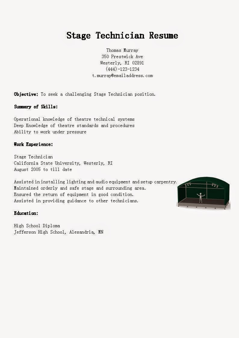 resume samples  stage technician resume sample