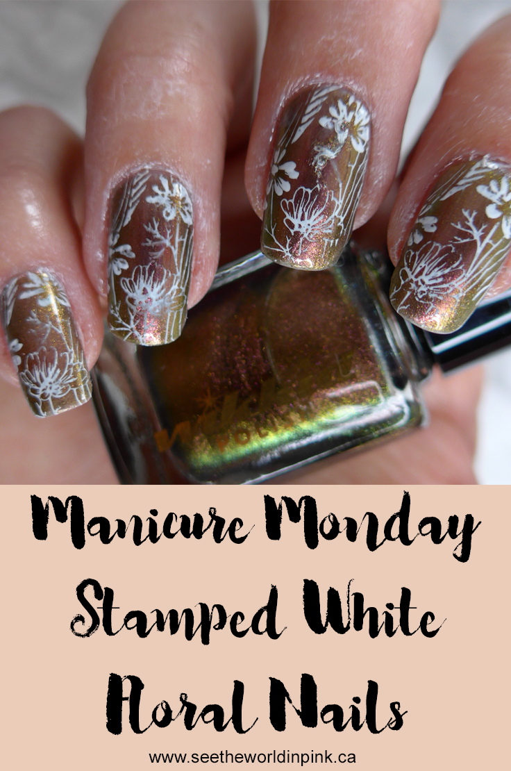 Manicure Monday - Stamped White Floral Nails