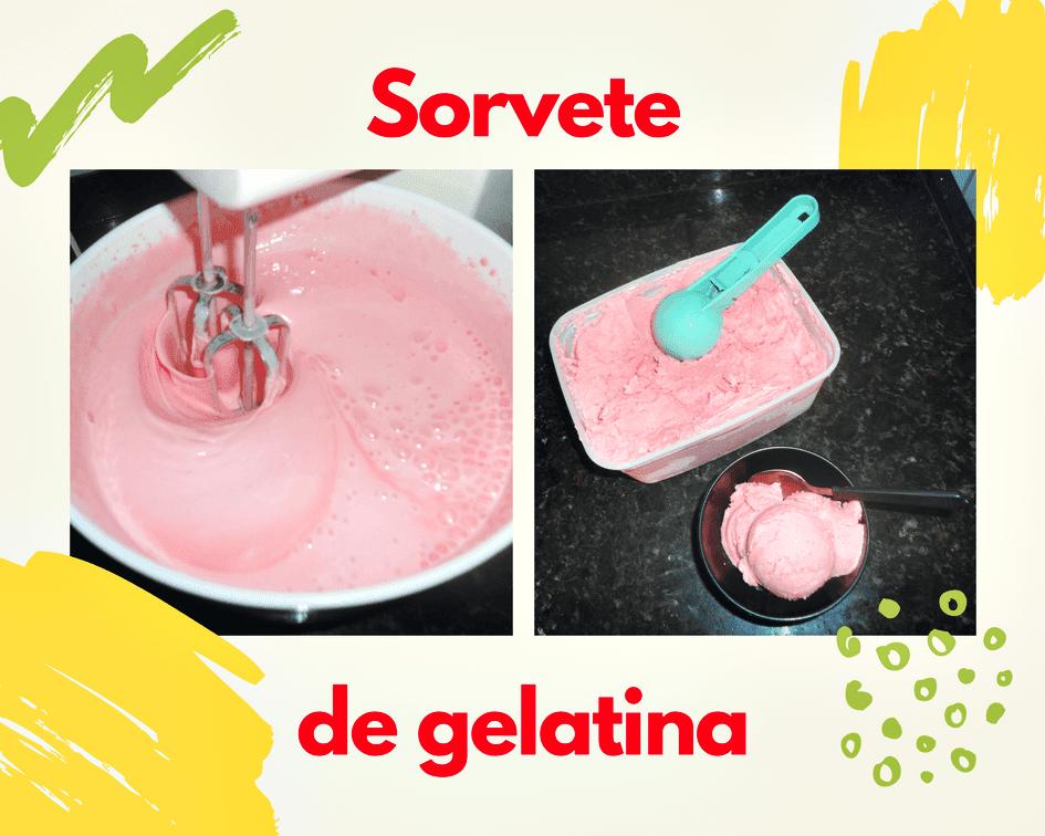 Sorvete caseiro feito com gelatina
