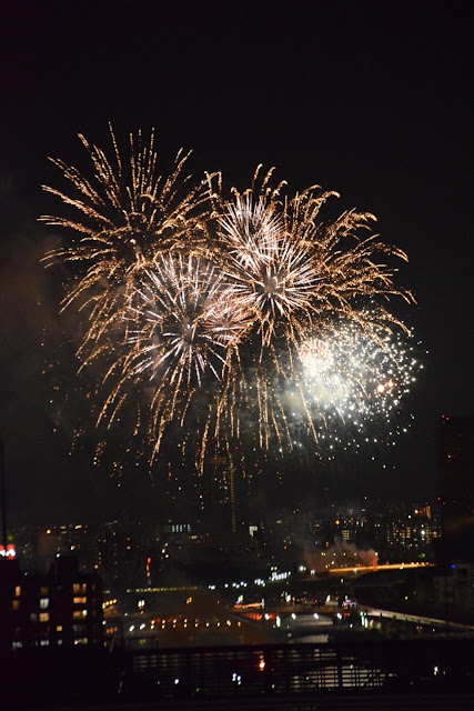 Fireworks explode at the 39th Sumida River Fireworks Festival.