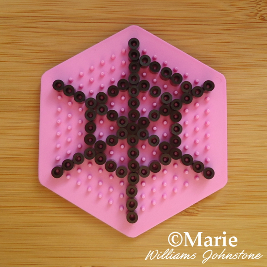 Adding the First Circle of Beads spiderweb perler beads pattern
