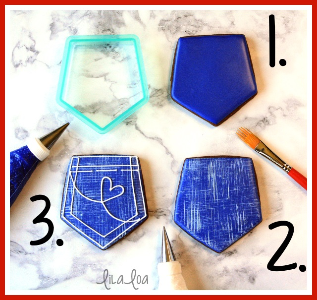 Denim jean pocket cookie decorating tutorial