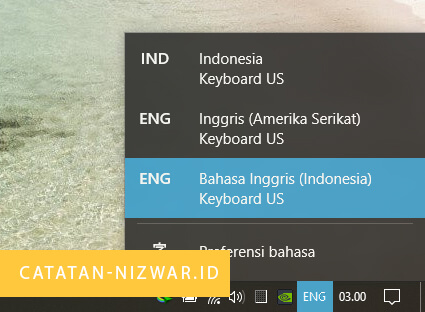 Mengubah jenis Keyboard ke US - Catatan Nizwar ID