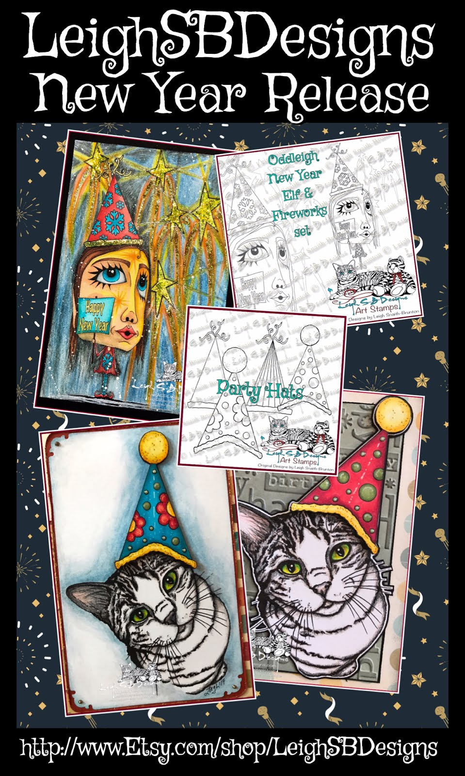 Oddleigh New Year Elf and Party Hats Pack Jan 2018 Release