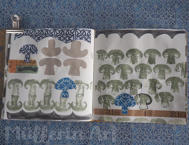 Pilzmuster im Skizzenbuch nach ©muellerinart
