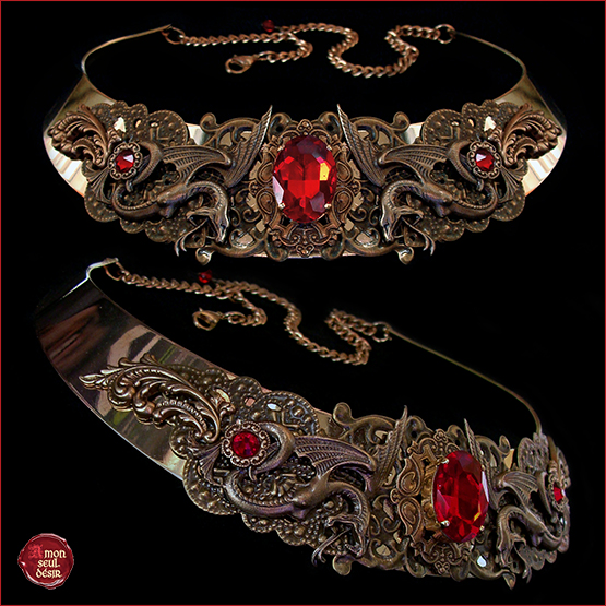 collier médiéval serpent rouge bronze renaissance fire snake necklace