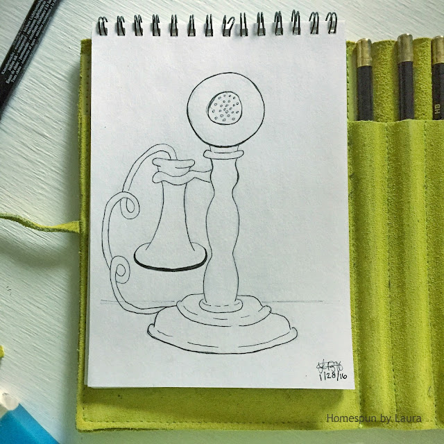 homespun by laura daily doodle pen drawing antique candlestick phone it's a wonderful life
