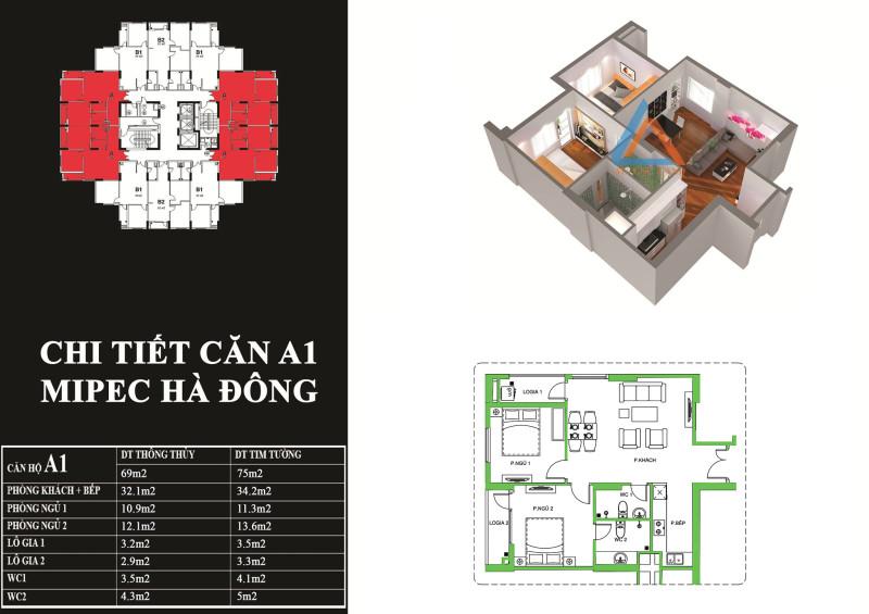 Mặt bằng chi tiết căn hộ  69 m2 tại chung cư Mipec Hà Đông