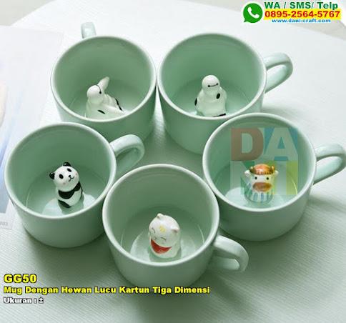 Mug Dengan Hewan Lucu Kartun Tiga Dimensi