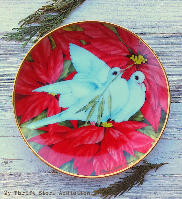 Vintage Franklin Mint Christmas Doves collectible plate