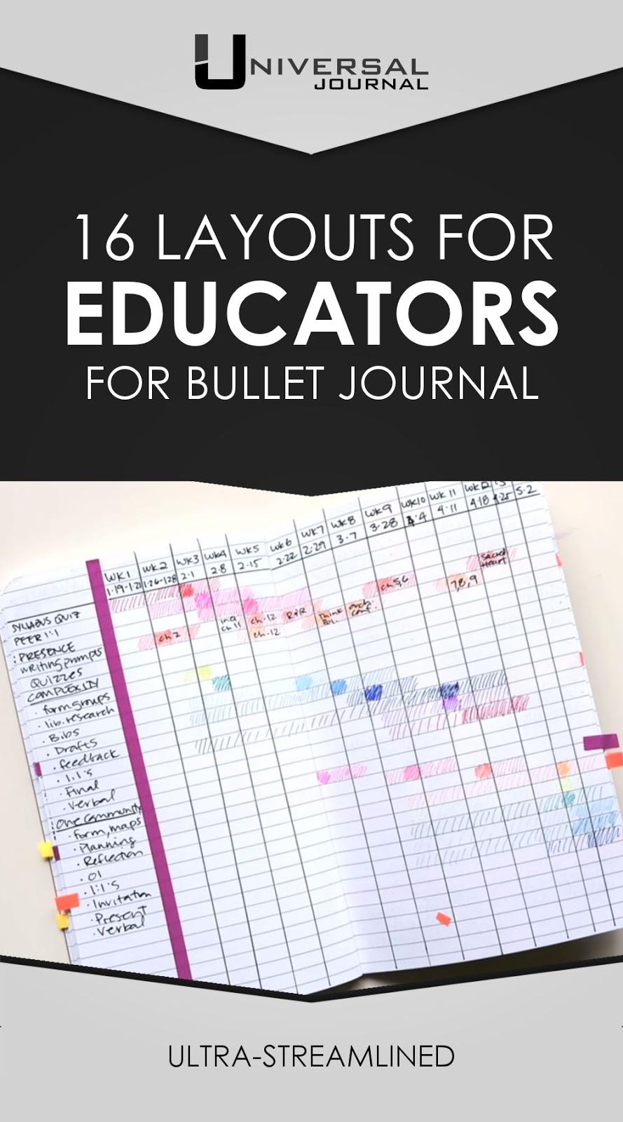 16 bullet journal layouts for educators teachers