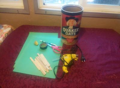 Craft supplies for building a leprechaun trap.
