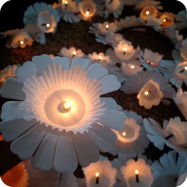 Faça Você Mesma : Luminária de Flores com Pisca-Pisca