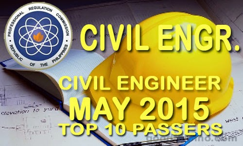 PRC Top 10 Passers: Civil Engineer Board Exam Results (May 2015)