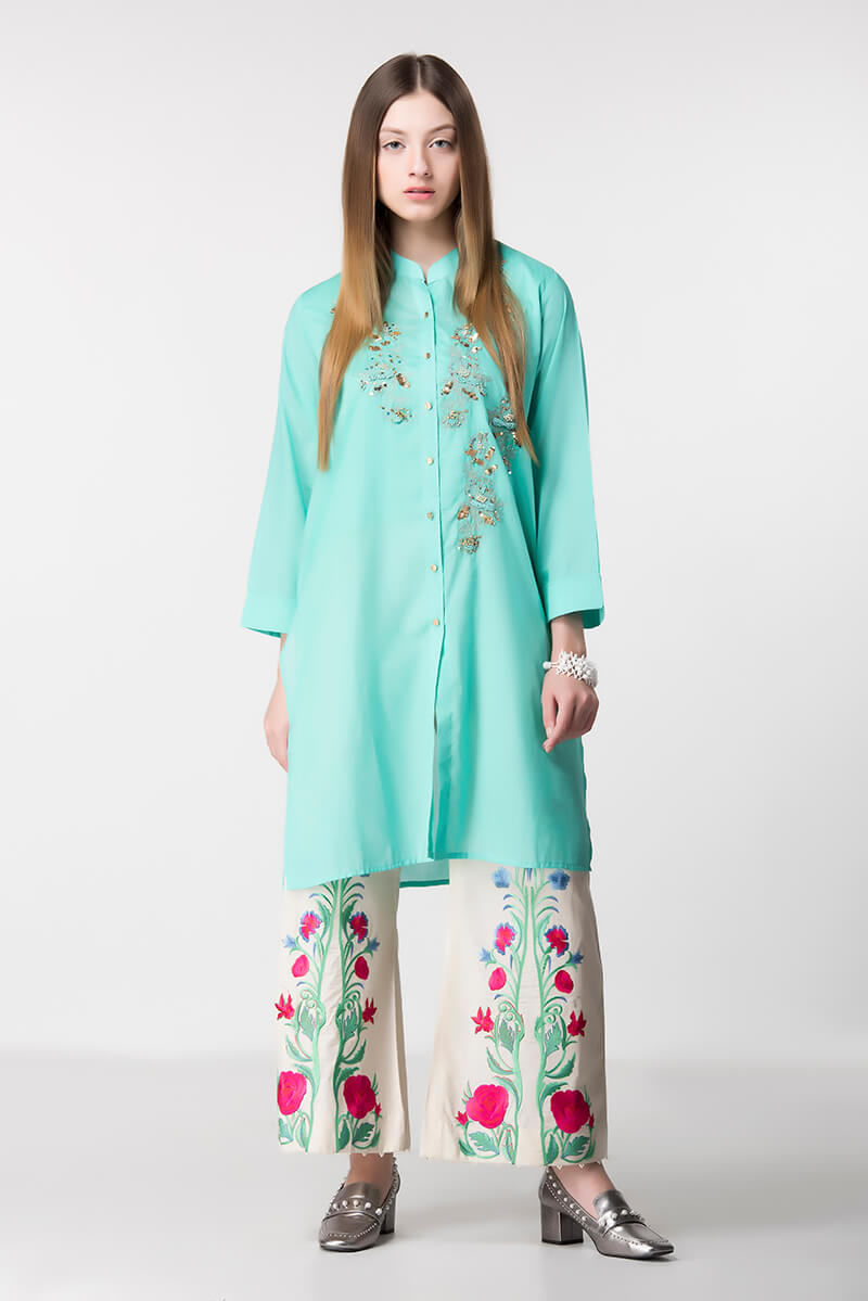 Lawn Collection Ethnic by Outfitters SHIRTS COLLECTION 2017 BUTTONED PLAIN OPEN SHIRT SKU ...