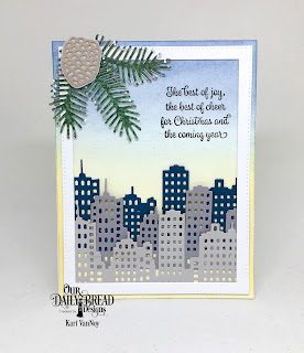 Our Daily Bread Designs Stamp Set: Christmas Card Verses, Custom Dies: City Skyline, Pierced Rectangles, Pine Branches, Pinecones