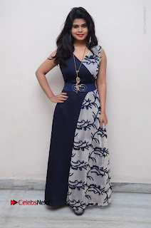 Telugu Actress Alekhya Stills in Blue Long Dress at Plus One ( 1) Audio Launch  0143.jpg