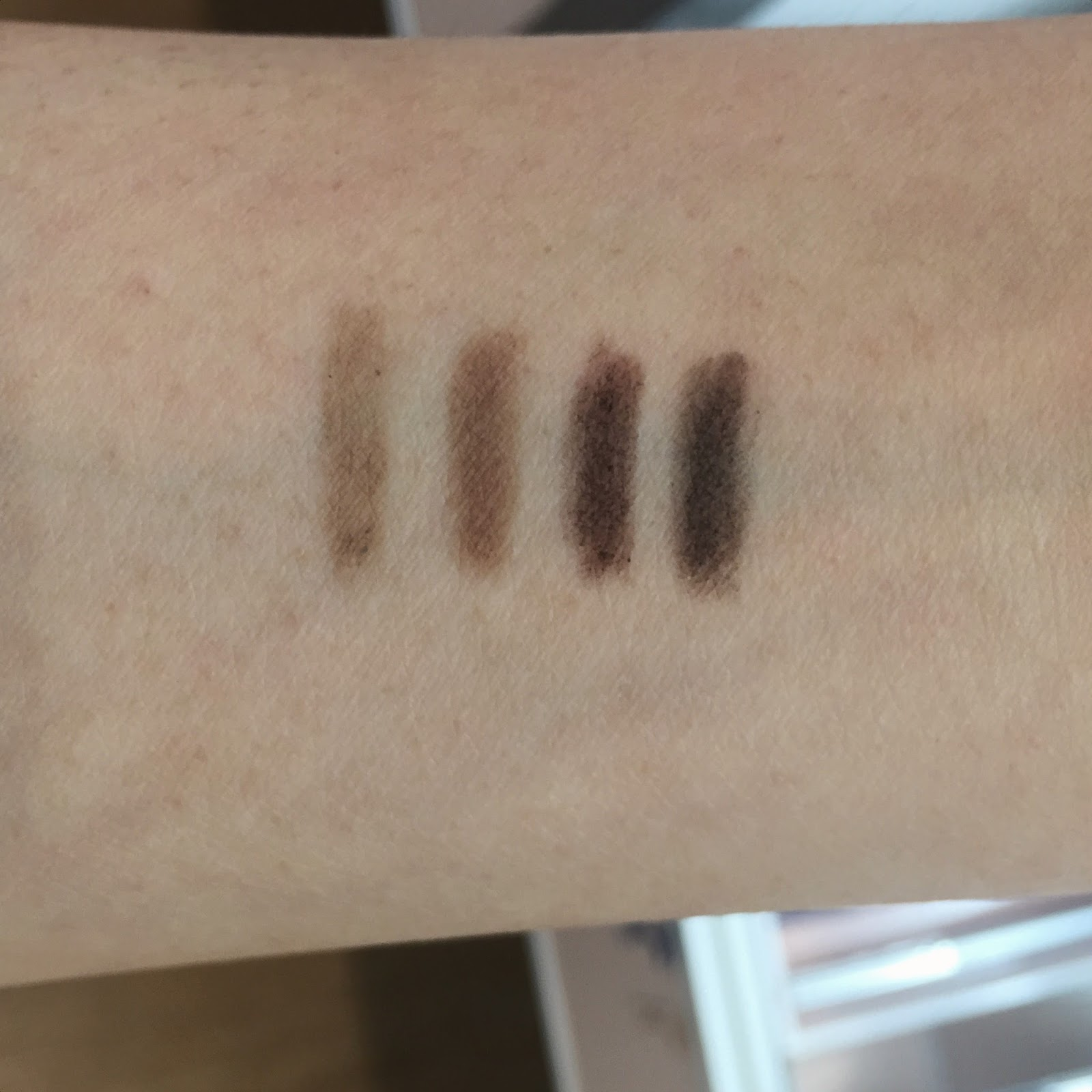 honest beauty brow filler swatches dark blonde warm auburn rich brunette deep black