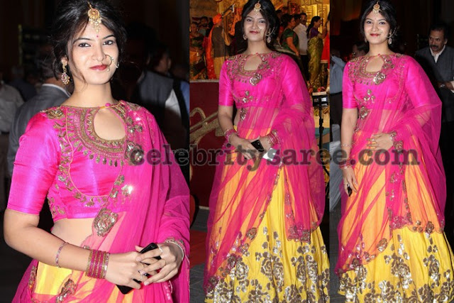 Pretty Girl in Yellow and Pink Shimmer Lehenga