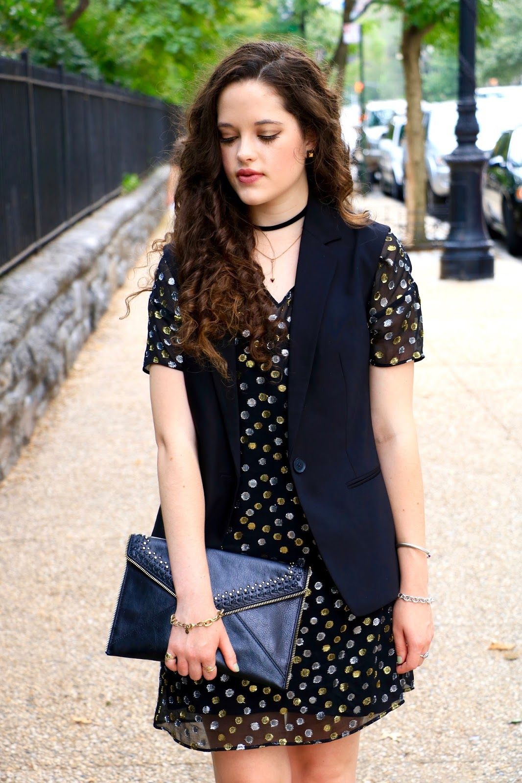dress with vest fashion blogger