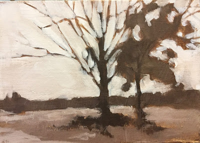 Value study painting of trees by Maryland landscape painter Barb Mowery