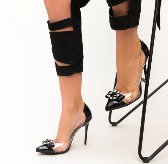 Pantofi femei de zi si de ocazii negri cu toc inalt si silicon transparent