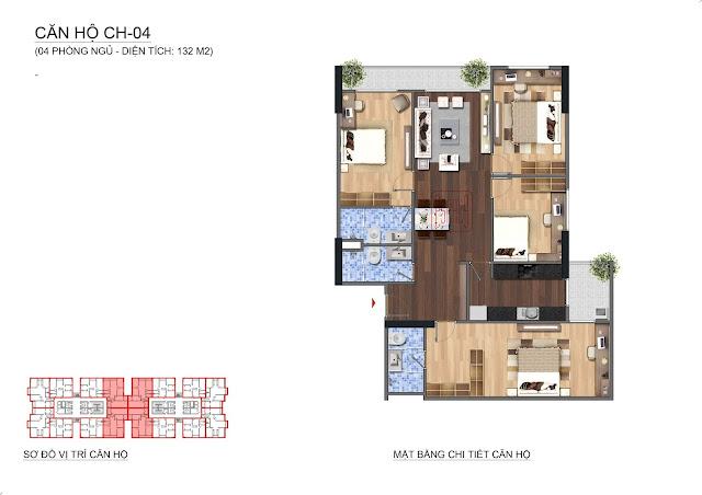 Căn hộ diện tích 132m2, 4 phòng ngủ tại Lạc Hồng Lotus N01T1