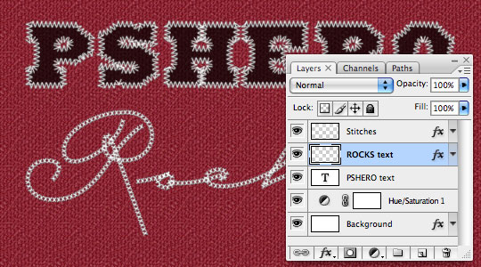 Stitched Text Effect in Photoshop