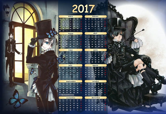 calendario 2017 black butler ciel