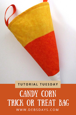 Homemade Candy Corn Fabric Trick or Treat Bag Sewing Project
