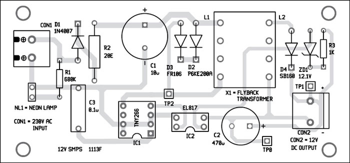 fig 2 circuit of the 12v 1a smps fig 3 an actualsize