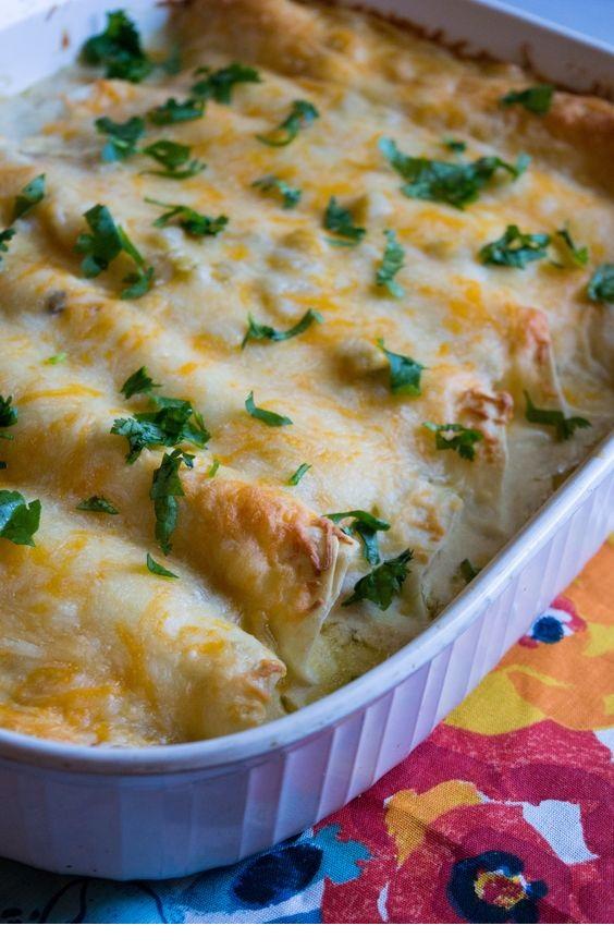 Creamy White Chicken Enchiladas!