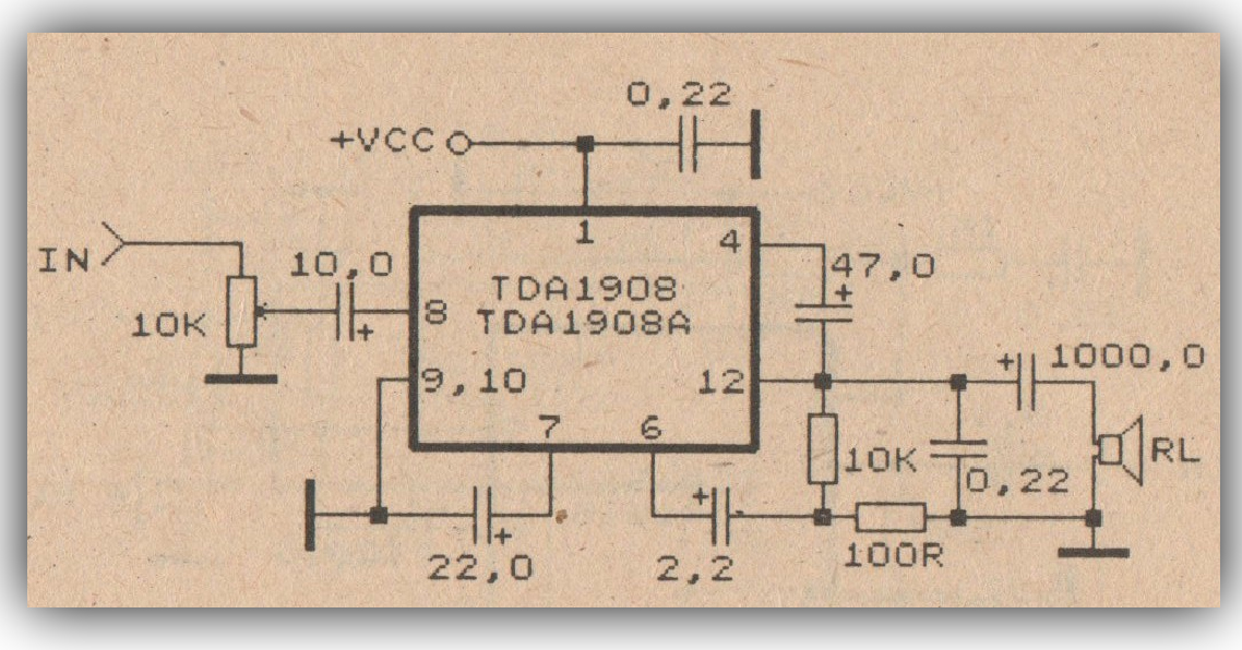 small power amplifier with ic tda1908 diy circuit