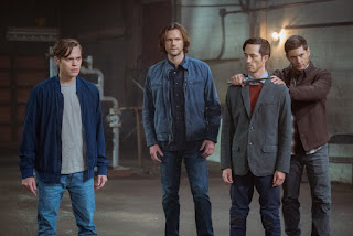 "Alexander Calvert as Jack, Jared Padalecki as Sam Winchester, Jensen Ackles as Dean Winchester in Supernatural 13x09 ""The Bad Place"""