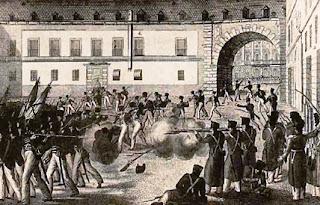 El dibujo muestra el momento en que algunos guardias reales disparan a los milicianos y éstos abren fuego.sponden.