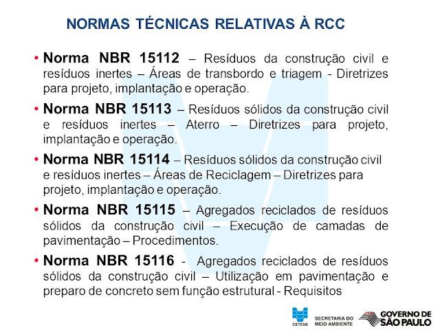 NORMAS BRASILEIRAS PARA GESTÃO DE RESÍDUOS DE CONSTRUÇÃO CIVIL