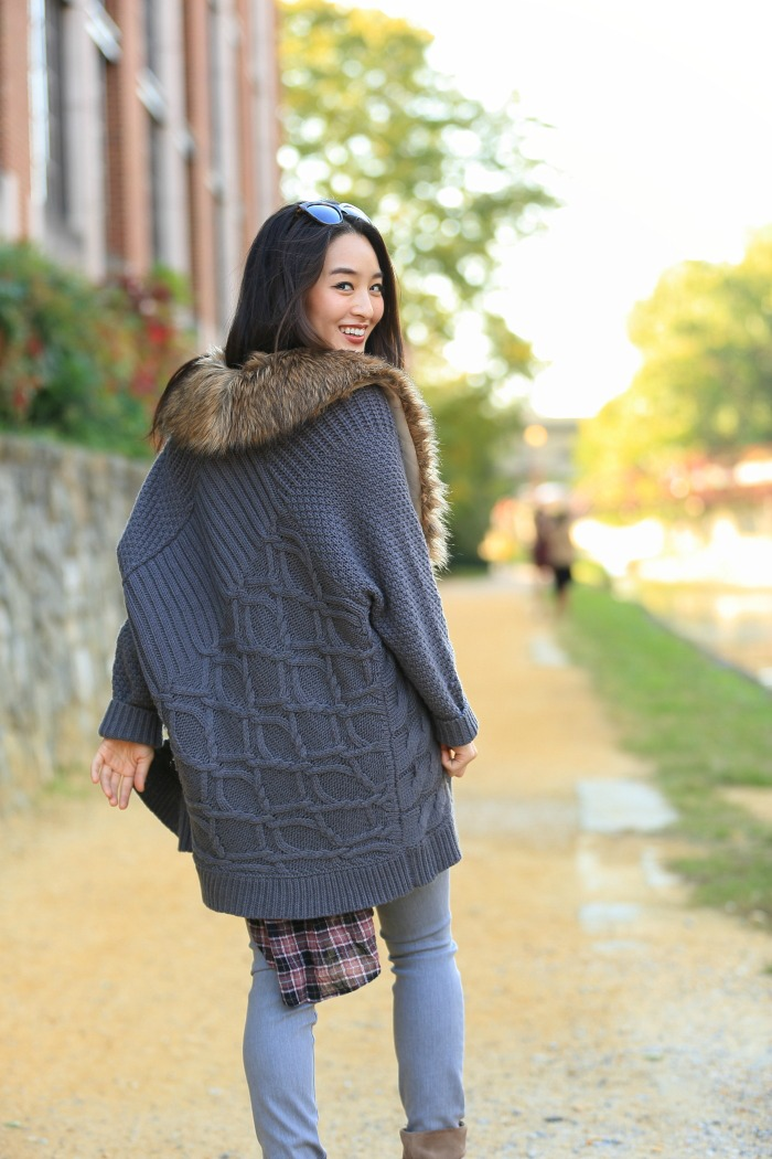 grey chunky knit cardigan with faux fur collar