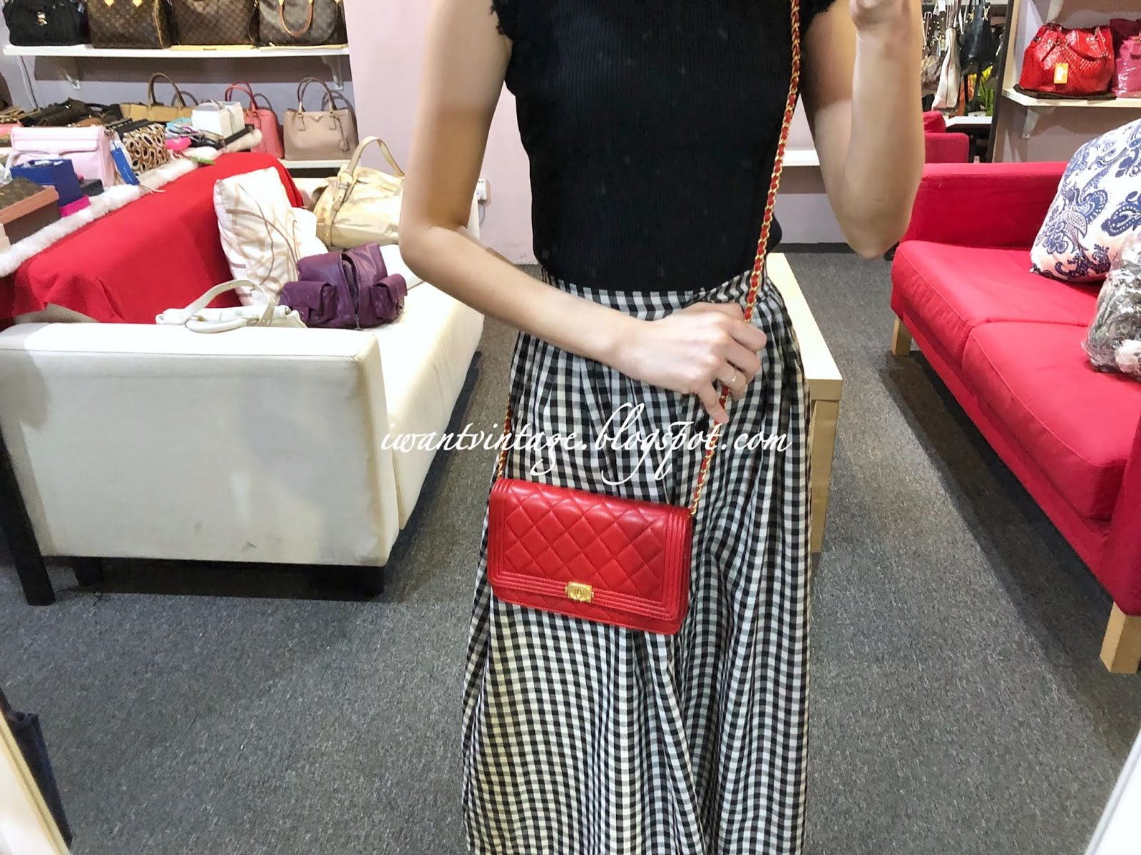 ae7cc1382504 I Want Vintage | Vintage Designer Handbags: Chanel Lambskin Boy WOC-Red