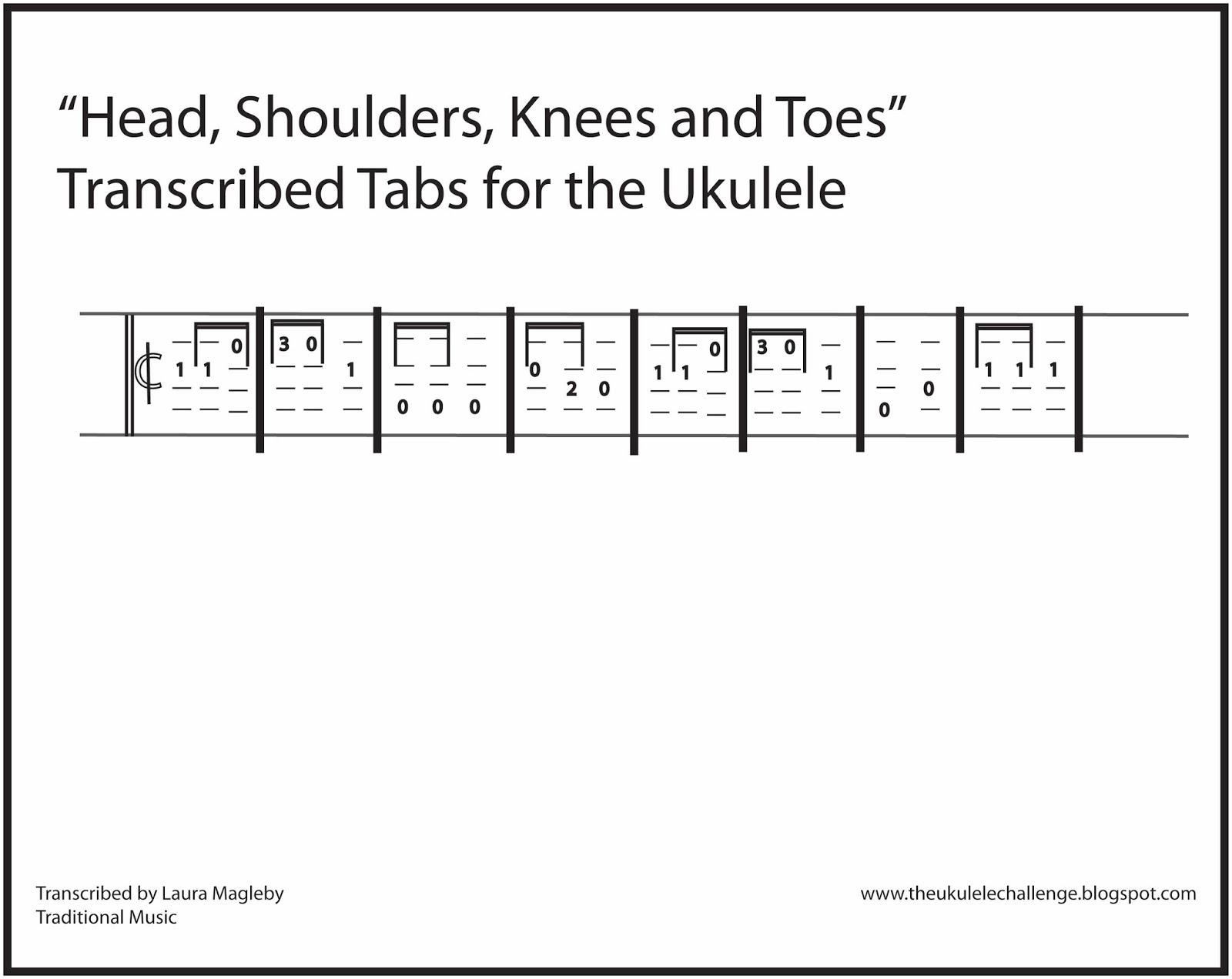 The Ukulele Challenge Head Shoulders Knees And Toes