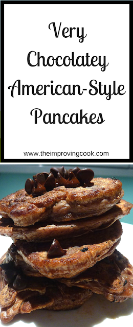 Pinnable image and text of Chocolate pancakes