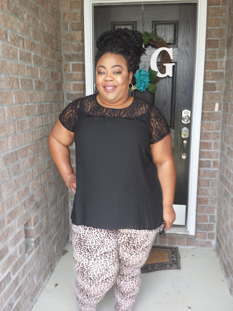 Black blouse and leopard print jeggings with MAC makeup