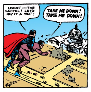"Action Comics (1938) #1 Page 13 Panel 3: Superman ""flies"" the corrupt Washington lobbyist around the capitol."