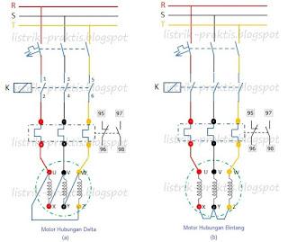 Diagram daya DOL motor Bintang dan delta