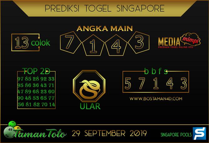 Prediksi Togel SINGAPORE TAMAN TOTO 29 SEPTEMBER 2019
