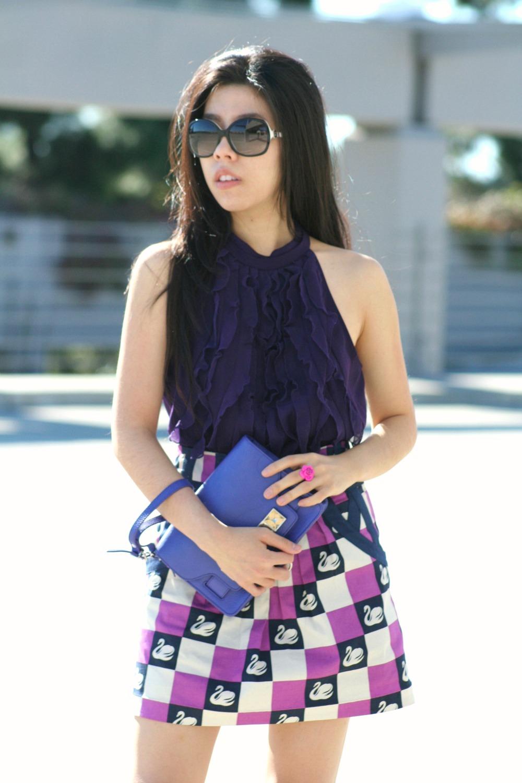 How to Make Cheap look Expensive - TJ Maxx Top - Nordstrom Rack Skirt - Leifsdottir Swan Mini Skirt - Ivanka Trump Suede Heels - adrienne nguyen - invictus