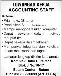 Lowongan Kerja Accounting Staff Batam