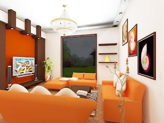 sala con sofás naranjas