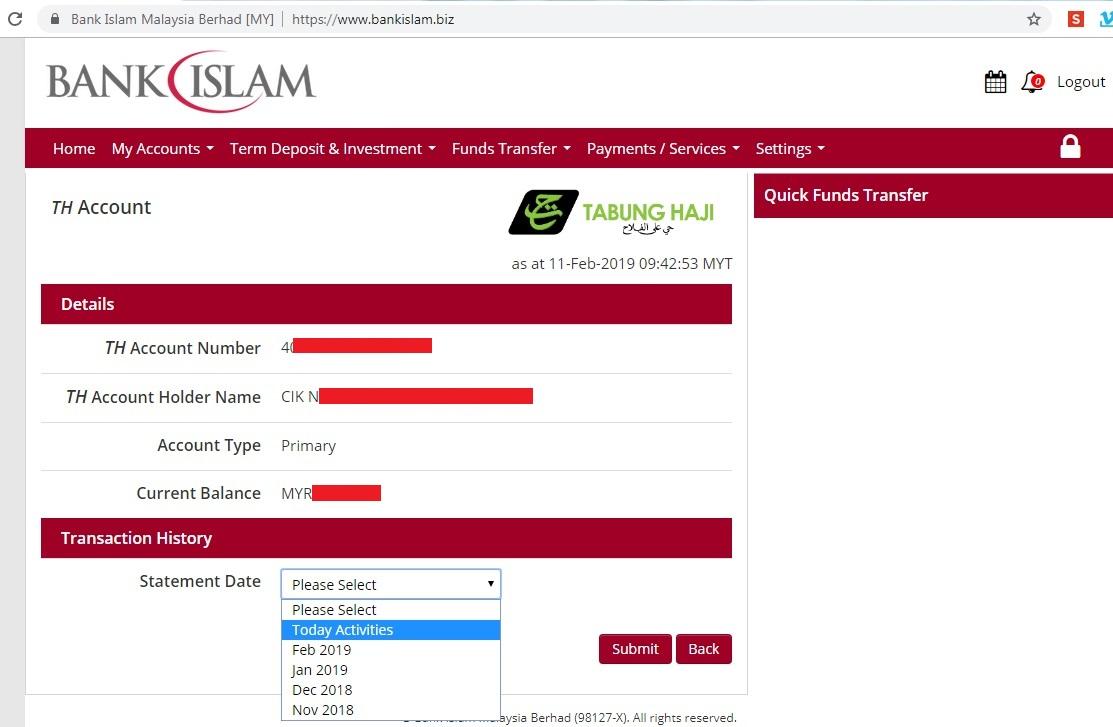 Semak Transaksi Akaun Tabung Haji Guna Bank Islam Online Banking Je